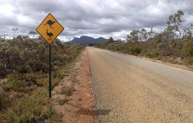 Kangaroo and emu sign