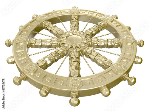 Dharmacakra or the Wheel of the Life. 3D isolated