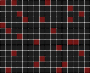 Small tiles mosaic with black and red colors