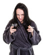 alcoholic, aggressive woman drinking red wine and smoking
