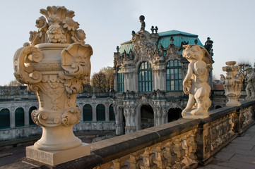 statue above the Zwinger Museum in Dresden, Germany