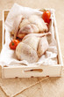 two pheasants bird, plucked and stuffed in wooden box