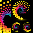 Abstract swirl icon set, colorful dots design