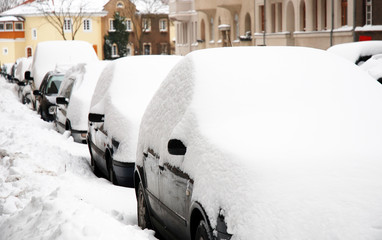 Snow and Cars in the City