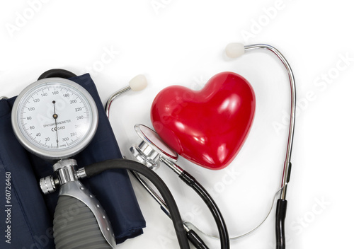 sphygmomanometer with heart and stethoscope
