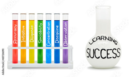 Formula of learning success. Concept with colored flasks.