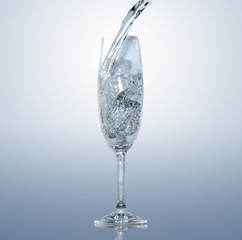 frozen water splash in a glass