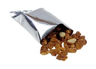 Toffee peanuts spilling from bag