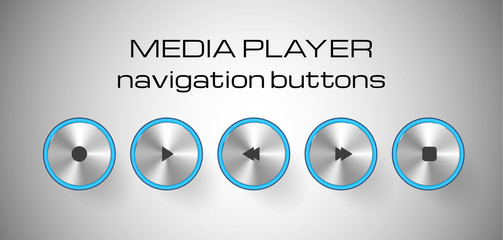 Set of media control buttons.