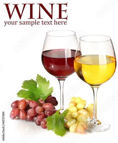 glasses of wine and ripe grapes isolated on white