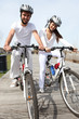 Young couple having a bike ride