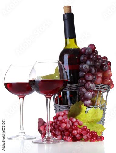 Zdjęcia na płótnie, fototapety, obrazy : Wineglasses with red wine, grape and bottle isolated on white