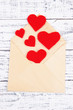 Beautiful old envelope with decorative hearts