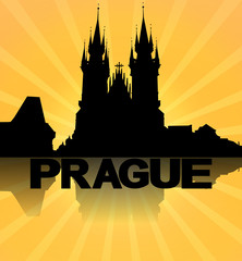 Prague skyline reflected with sunburst illustration