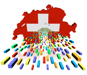 Switzerland map flag reflected with containers illustration