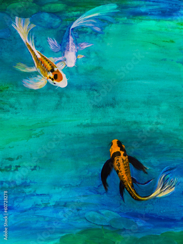 Three Butterfly Koi