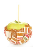 Candied apple on stick isolated on white