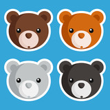 Set of cute baby bear icons