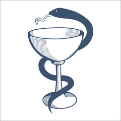 Medical health service emblem with goblet and snake.