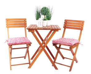 Garden chairs and table isolated on white