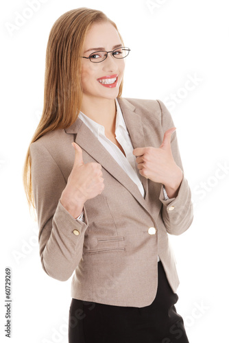 Beautiful caucasian business woman pointing on herself.