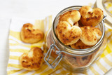 Coconut cookies heart shape in glass jar