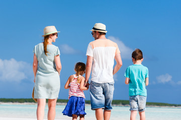 Family walking at beach