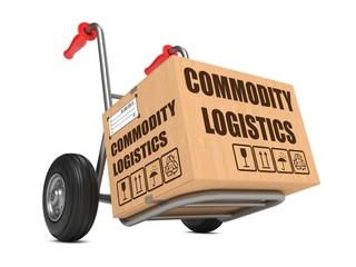 Commodity Logistics - Cardboard Box on Hand Truck.