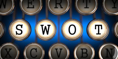 SWOT on Old Typewriter's Keys.