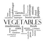 Vegetables Word Cloud Concept in black and white