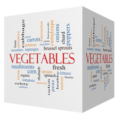 Vegetables 3D cube Word Cloud Concept