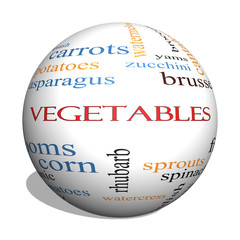 Vegetables 3D sphere Word Cloud Concept