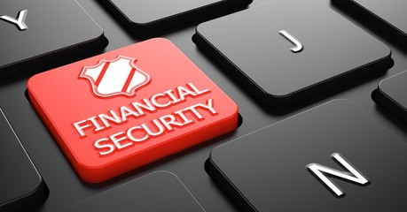 Financial Security Concept on Red Keyboard Button.