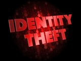 Identity Theft on Dark Digital Background.