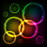 Colorful neon circles abstract frames background