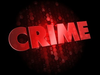 Crime on Dark Digital Background.