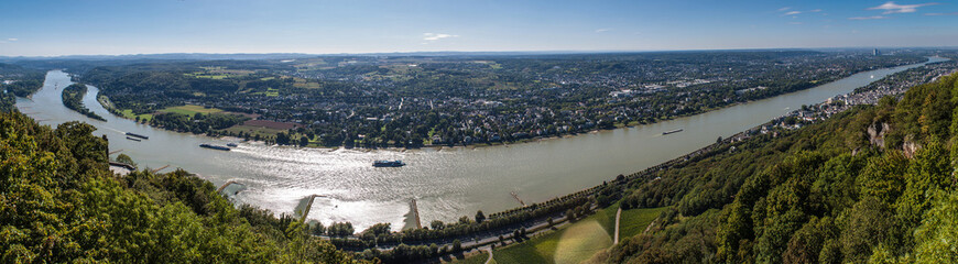 Panorama of Rhine valley from Drachenfels, Germany