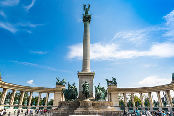 Heroes square in Budapest, a square dedicated to the hungarian k