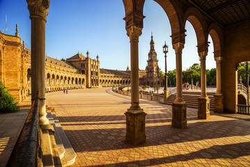 Spanish Square (Plaza de España) in Sevilla at sunset, Spain.