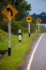 Road signs at Khao Yai National Park, Thailand