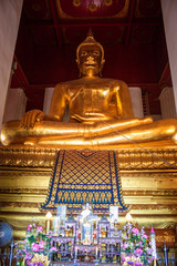 Giant Buddha image at Wat Mongkol Bophit temple in Ayutthaya