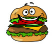 Happy cartoon hamburger with smiley face