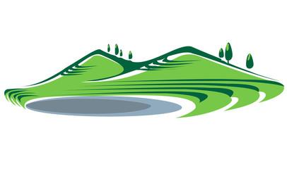 Illustration of hills and lake
