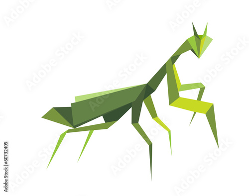Origami green praying mantis