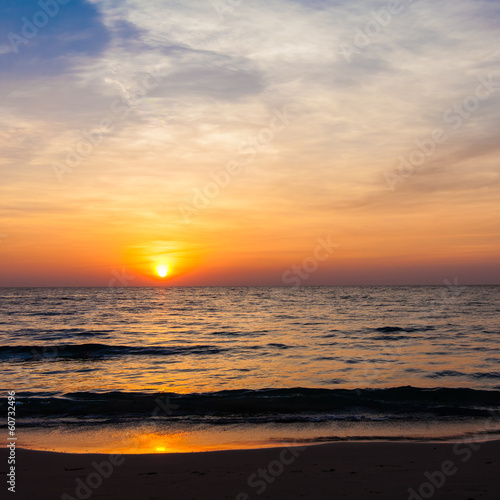 Sunset on the beach.   sunrise in the sea