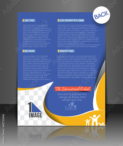 Vector School Brochure, Flyer Back, Template