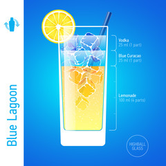 Blue Lagoon. Cocktails infographics.