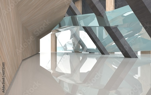 Abstract of concrete, glass and wood, background