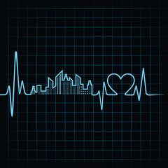 Heartbeat make a building design and heart stock vector