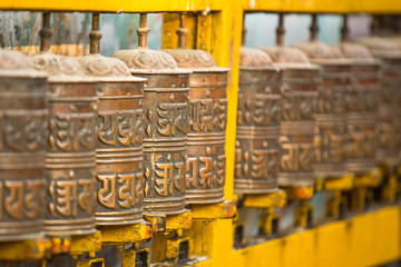 Tibetan Buddhist prayer wheels at Boudhanath stupa